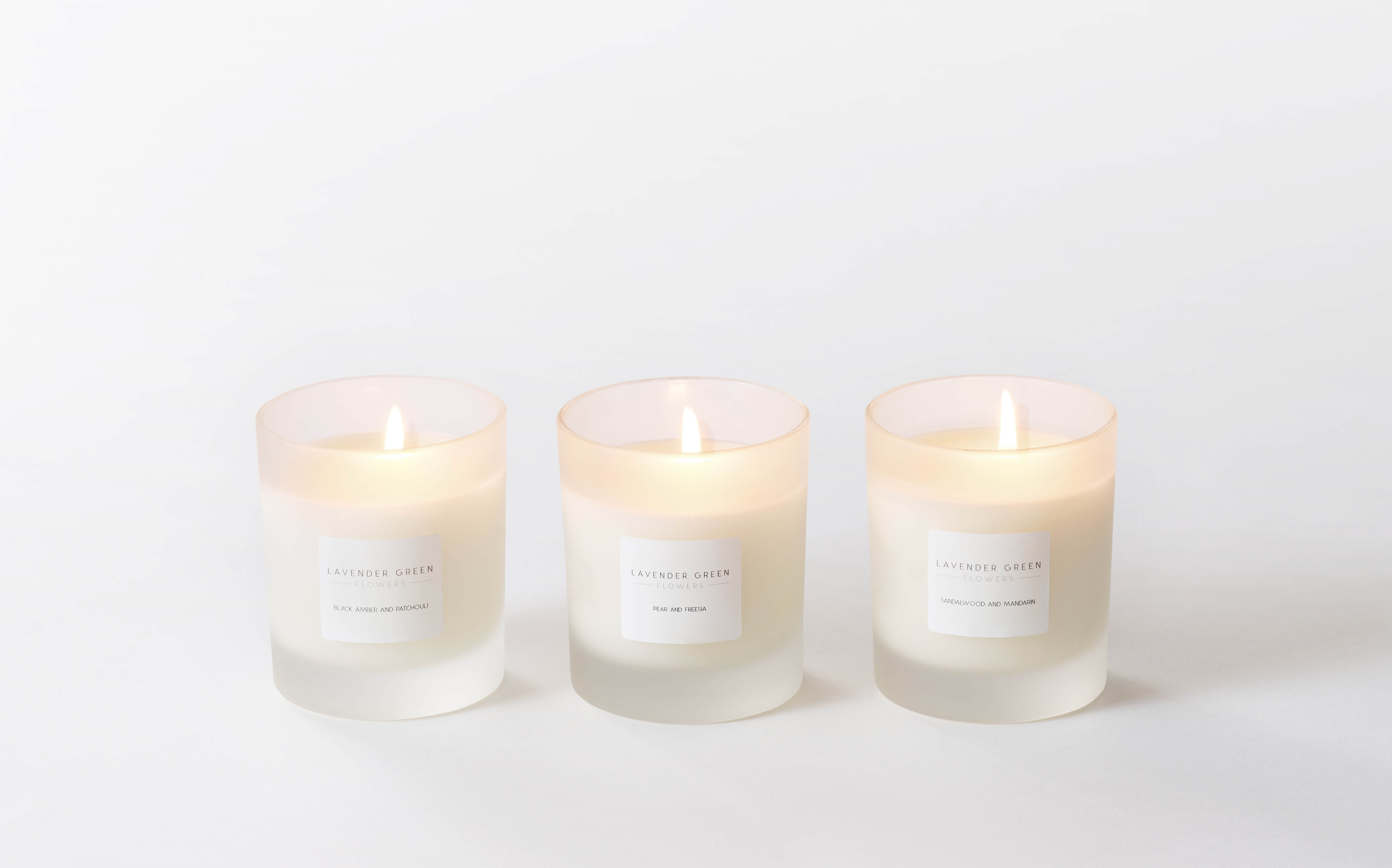 Lavender Green Scented Candles Trio Lavender Green Flowers